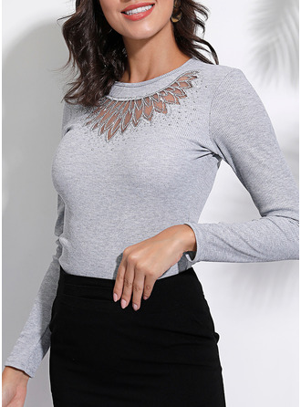 Solid Round Neck Long Sleeves Casual Elegant