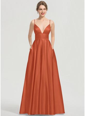 A-Line V-neck Floor-Length Satin Prom Dresses With Pockets