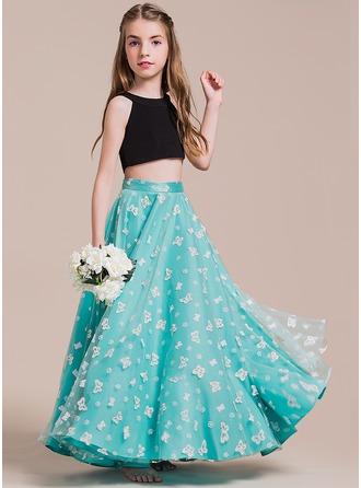 A-Linie/Princess-Linie U-Ausschnitt Bodenlang Tüll Kleid für junge Brautjungfern