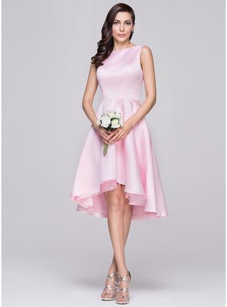 Трапеция Круглый асимметричный Атлас Платье Подружки Невесты