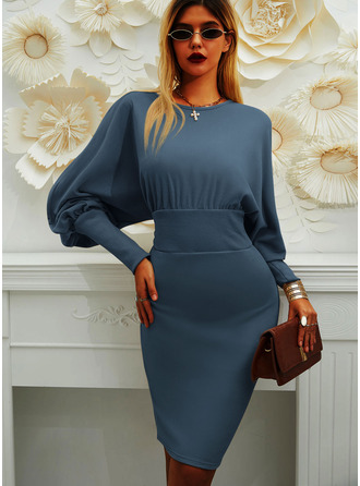 Pevný Přiléhavé Rukávy do zvonu Dlouhé rukávy Midi Malé černé Elegantní Tužky Módní šaty