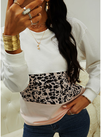 Color Block Leopard Round Neck Long Sleeves Sweatshirt (1001254030)