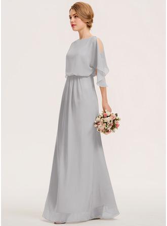 Платье-чехол Круглый Длина до пола шифон Платье Подружки Невесты с Ниспадающие оборки