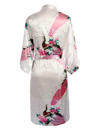 Personalized Bride Bridesmaid charmeuse With Tea-Length Personalized Robes Kimono Robes