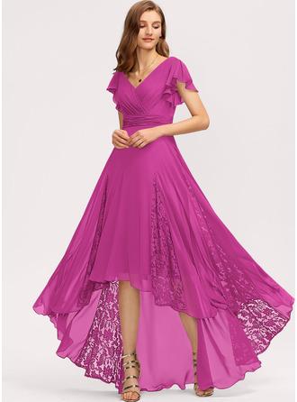 A-Line V-neck Asymmetrical Chiffon Evening Dress With Ruffle Lace