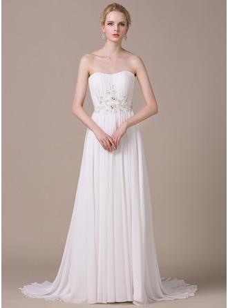 A-Line/Princess Sweetheart Sweep Train Chiffon Wedding Dress With Ruffle Lace Beading Sequins