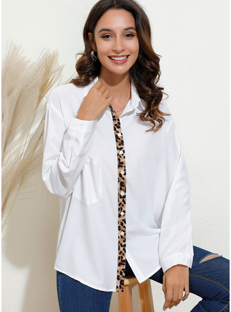 Patchwork Leopard Long Sleeves Cotton Blends V Neck Blouses