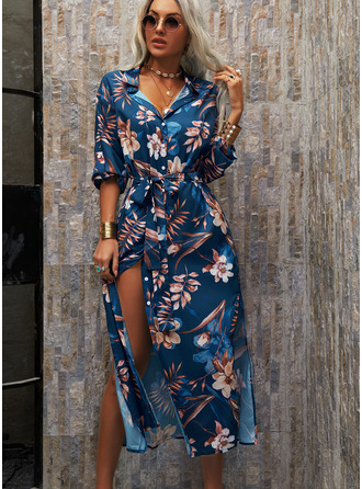 Floral Print A-line 3/4 Sleeves Maxi Casual Vacation Shirt Skater Dresses