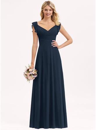 Empire V-neck Floor-Length Chiffon Prom Dresses With Cascading Ruffles