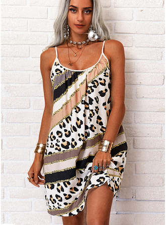 Leopard Druck Etuikleider Ärmellos Mini Lässige Kleidung Urlaub Typ Modekleider
