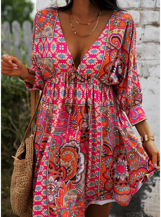 Print A-line 3/4 Sleeves Mini Boho Casual Vacation Skater Dresses