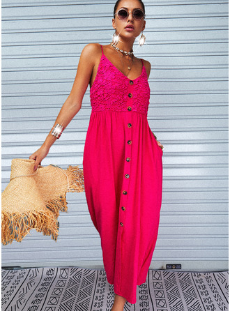 Lace Solid A-line Sleeveless Maxi Casual Vacation Skater Type Dresses