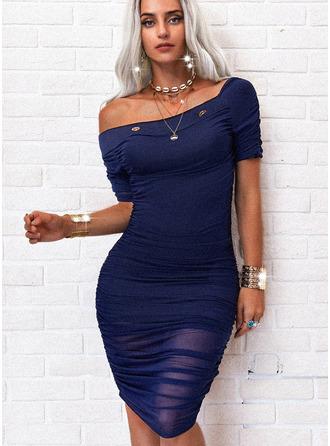 Solid Bodycon Short Sleeves Midi Casual Pencil Dresses