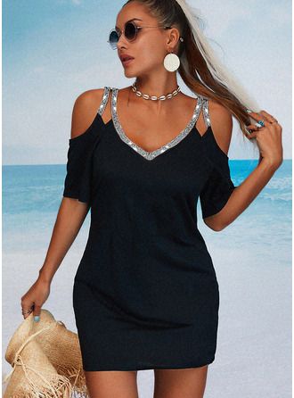 Sequins Solid Sheath 1/2 Sleeves Mini Little Black Casual Vacation Dresses