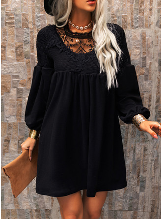 Dantel Solid Shift Elbiseleri Mâneci Lungi Mini Negre Zarif Tunică Moda Elbiseler