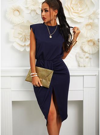 Sólido Bodycon Sem mangas Midi Casual Elegante Lápis Vestidos na Moda