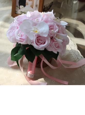 Attaché à la main Satiné Bouquets de mariée/Bouquets de demoiselle d'honneur (vendu en une seule pièce) -
