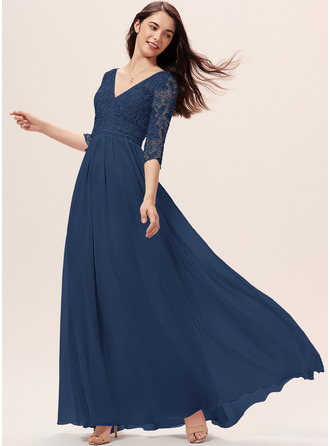 A-Line V-neck Floor-Length Chiffon Lace Bridesmaid Dress