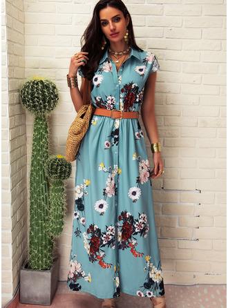 Květiny Tisk Do tvaru A Krátké rukávy Maxi Neformální Dovolená Košilové šaty Módní šaty