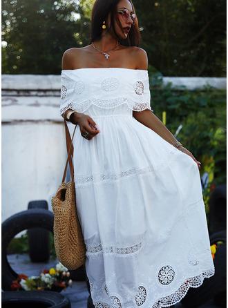 Spets Solid A-linjeklänning Korta ärmar Maxi Elegant skater Modeklänningar