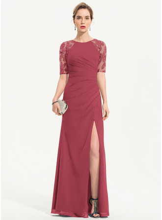 Sheath/Column Scoop Neck Floor-Length Chiffon Evening Dress With Sequins Split Front