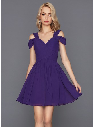 A-Line/Princess Sweetheart Short/Mini Chiffon Cocktail Dress With Ruffle