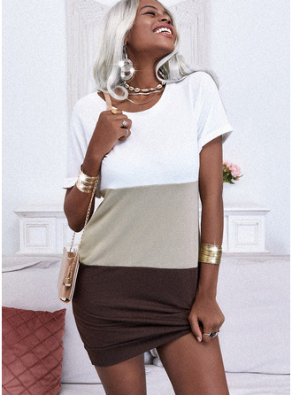 Color Block Šaty Shift Krátké rukávy Mini Neformální tričko Módní šaty