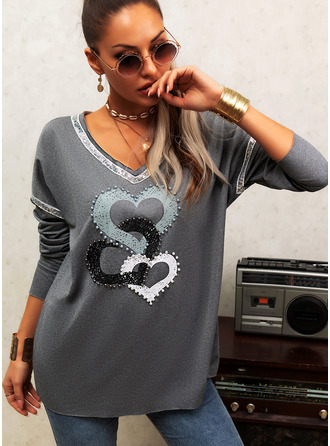 Beaded Print Sequins V-Neck Long Sleeves Casual T-shirt