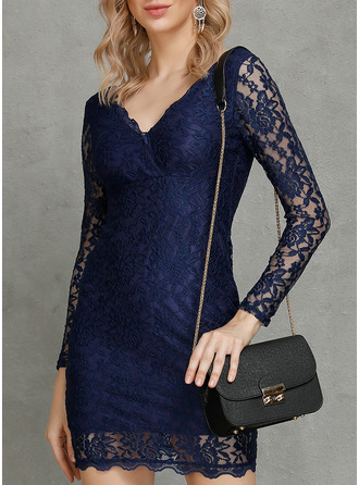 Lace Solid Bodycon Long Sleeves Midi Party Elegant Sexy Dresses