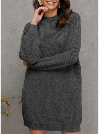 Stand collar Casual Solid Chunky knit Sweaters