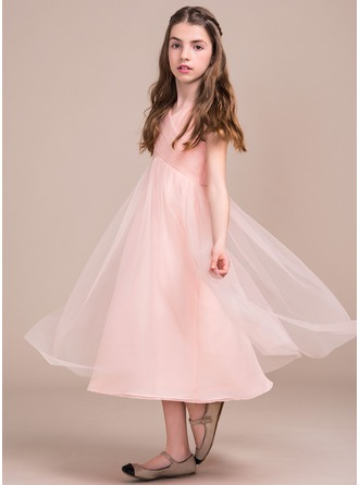 A-Line/Princess Tea-length Flower Girl Dress - Tulle Sleeveless V-neck With Ruffles