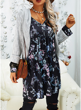 Floral Lace Print Shift Long Sleeves Midi Casual Elegant Tunic Dresses
