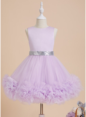 Ball-Gown/Princess Scoop Neck Knee-length With Sequins Satin/Tulle Flower Girl Dress