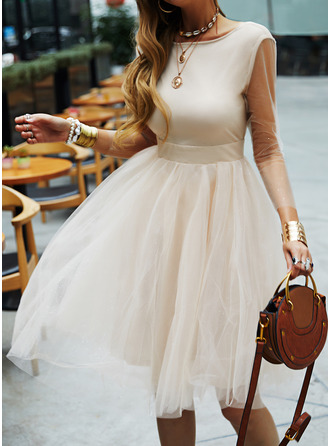 A-line 3/4 Sleeves Midi Dresses