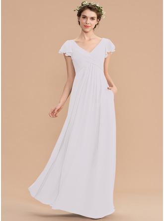 Corte A Decote V Longos Tecido de seda Vestido de madrinha com Babados em cascata Bolsos