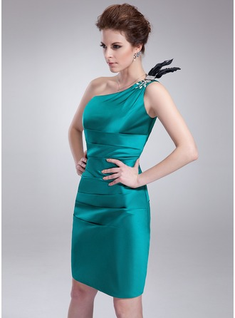 Sheath/Column One-Shoulder Knee-Length Charmeuse Cocktail Dress With Ruffle Beading Feather