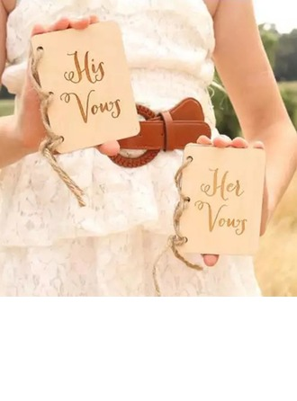 Bride Gifts - Vintage Wooden Vow Card Vow Booklet (Set of 2)