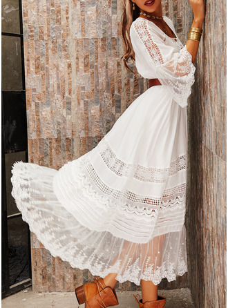 Lace Solid A-line 3/4 Sleeves Flare Sleeve Maxi Elegant Skater Dresses