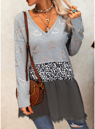 Leopard Print Heart V-Neck Long Sleeves Casual Blouses