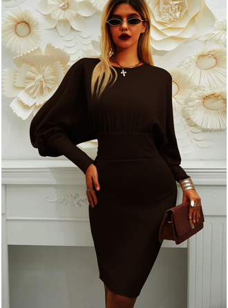 Solid Bodycon Lantern Sleeve Long Sleeves Midi Little Black Elegant Pencil Dresses