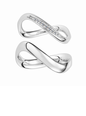 Sterling Silver Cubic Zirconia Infinity Round Cut Couple's Rings - Valentines Gifts