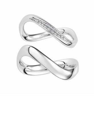 Plata esterlina Zirconia cúbica infinito Corte Redondo Anillos de pareja - Regalos De San Valentin