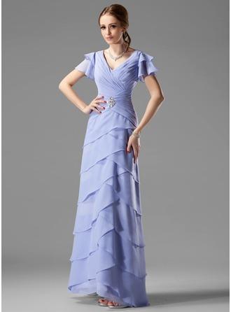 A-Linie/Princess-Linie V-Ausschnitt Bodenlang Chiffon Kleid für die Brautmutter mit Perlen verziert Gestufte Rüschen