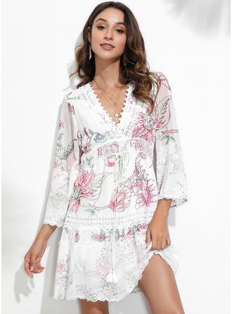 Ovanför Knä V-ringning polyester Spets/Print 3/4 Ärmar Modeklänningar