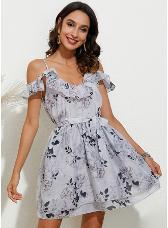Above Knee Spaghetti Straps Polyester Print Cold Shoulder Sleeve Fashion Dresses