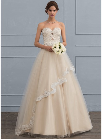 Ball-Gown Sweetheart Floor-Length Tulle Wedding Dress With Beading Sequins