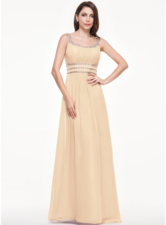 A-Line/Princess Floor-Length Chiffon Tulle Evening Dress With Ruffle Beading