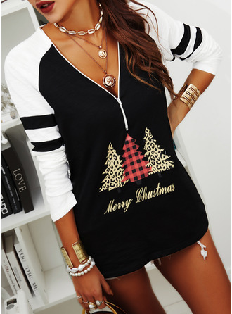 Leopard Figure Color Block Print V-Neck Long Sleeves Casual Christmas Blouses