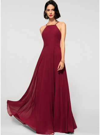 A-Line Scoop Neck Square Neckline Floor-Length Chiffon Evening Dress
