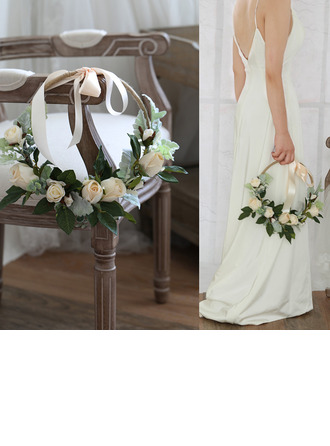 Elegant Round Silk Flower/Silk linen Bridal Bouquets/Decorations -